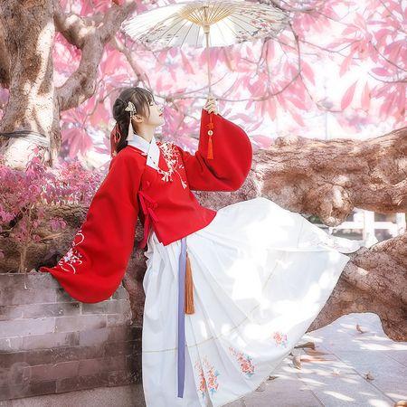 汉尚华莲传统汉服女装秋冬加厚毛呢仙鹤刺绣交领上袄马面裙红白色