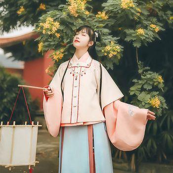 汉尚华莲传统汉服女装日常搭配袄裙方领半袖刺绣秋冬款