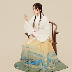 她说汉家衣裳传统汉服女金鱼交领上袄三层印花千里江山马面