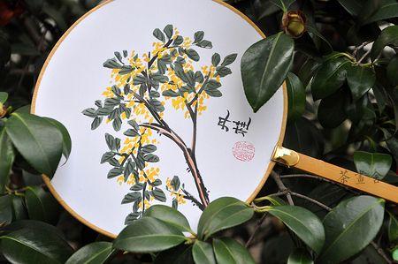 「茶画舍」纯手绘绢面团扇 汉文化汉服周边配饰 国画桂花 可定制