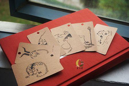 月上荷 手绘书签卡片牛皮纸/原创diy古风中国风萌系动物汉服周边