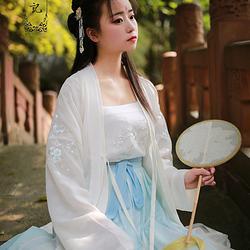 槿罗记汉服女装绣花叠穿长褙子闺蜜套装春夏-蓝