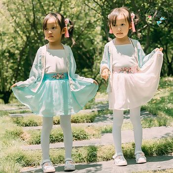 归源-【海棠系列】汉元素短裙 小女孩女童亲子绣花短褶 现货
