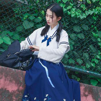 华小夏 小雅 重回汉唐绣花汉元素改良汉服女装交领襦裙半臂学生装