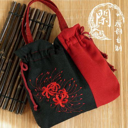 闲原创 红黑石蒜彼岸花刺绣花拉链毛呢绒单肩斜跨 汉服手提袋包包