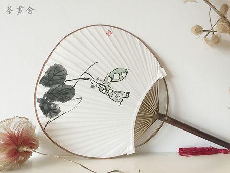 「茶画舍」原创双面手绘团扇 和风团扇 中国画豌豆荚