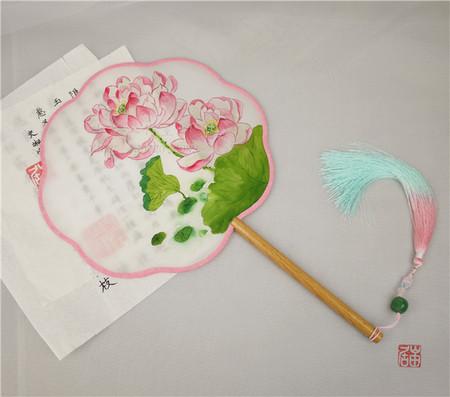 【岫居】中国风手绘十二花神六月荷花八瓣海棠榉木柄异形团扇宫扇