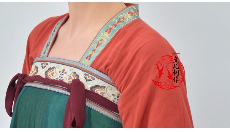 玺儿制作 原创汉服 对襟齐胸襦裙一片式间色破裙齐胸裙 现货包邮