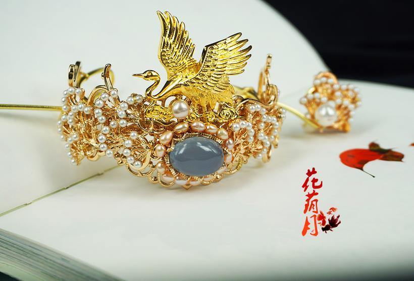【鹤隐】松柏蓝玛瑙珍珠白鹤少年发冠 花荫月原创
