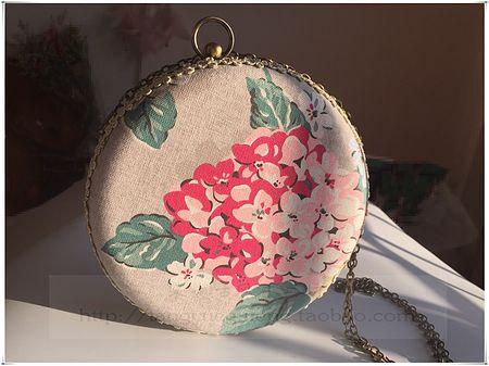 【棠樾古风】原创油画风绣球花口金盒子圆形包古典小巧日常风
