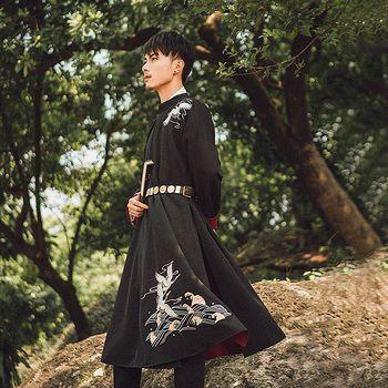 汉尚华莲传统汉服男装红黑双面圆领袍仙鹤刺绣日常外穿内搭秋冬