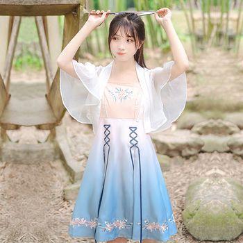 鹿韵记原创设计改良汉服新款女装夏汉元素连衣裙渐变绣花复古国风