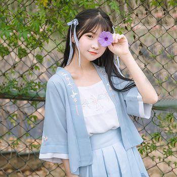 鹿韵记原创设计改良汉服女绣纸鹤花褙子褶裙日常中华汉元素