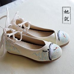她说汉服女仙鹤绣花鞋坡跟传统布鞋中国风高跟鞋夏季现货