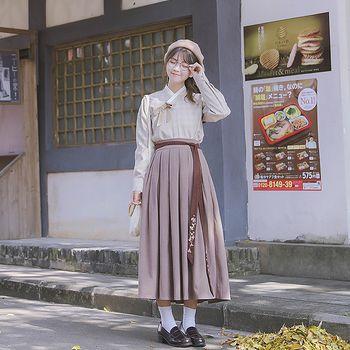 鹿韵记原创交领套装清新文艺风上襦搭配下裙日常女装秋冬季汉元素