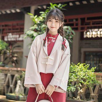 鹿韵记原创设计长袖上衣对襟短外套女装汉元素叶子绣花日常秋冬款