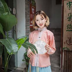 【瑶苼】觀止茶舍 刺绣竖领对襟短袄 汉服立领袄裙秋冬女装可加绒