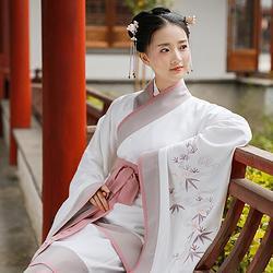 重回汉唐 飞霜 原创正规汉服女绣花双绕短曲裾礼服古风现代刺绣装