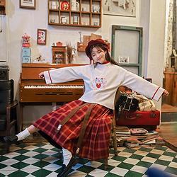 鹿韵记原创日常女装汉元素套装服饰冬装新款上衣下裙猫仙绣花套装