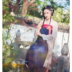 浮庄摇滟系列之【莲蕊】觀止茶舍汉服女装齐胸襦裙春夏民族装唐制