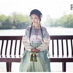 浮庄摇滟系列之【绿塘】觀止茶舍汉服女装对襟半臂襦裙民族装春夏