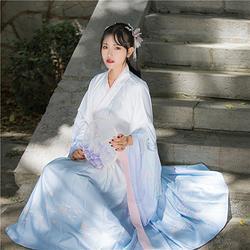 【烟雨暮】国色芳华传统汉服女蓝色交领大袖齐腰襦裙清新日常秋冬