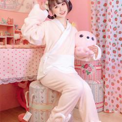 她说汉服改良法兰绒睡衣冬装粉色少女装长袖套