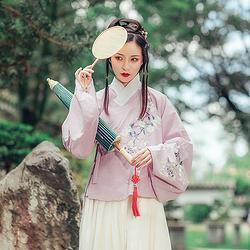 都城南庄原创新品明制汉服绣花秋冬款上袄香芋紫日常可配襦裙子宁
