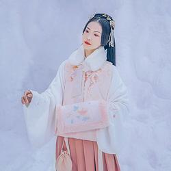 汉尚华莲雪鹤传统汉服女装圆领刺绣比甲加厚百搭日常上衣保暖秋冬