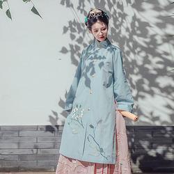 都城南庄冬季新款汉服女玉蓝宁长袄日常可配马面裙原创绣花
