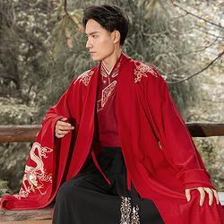 重回汉唐汉服男装旷世中国风绣花大氅秋冬季日常外套情侣装