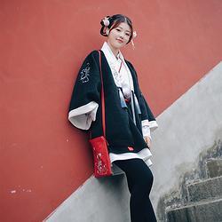书怡 花朝记汉服原创云纹刺绣 汉元素毛呢对襟秋冬日常外套女装