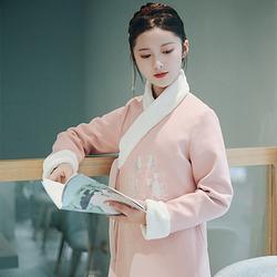 暖绒 花朝记汉服原创设计汉元素粉色毛呢交领外套秋冬女装保暖
