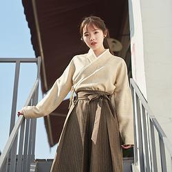 无衣饮羽琥珀汉元素原创汉服女交领咖啡格子上衣休闲秋冬日常套装