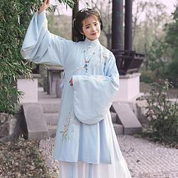 无衣饮羽传统汉服女刺绣立领斜襟长袄琵琶袖袄裙日常秋冬女套装