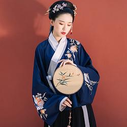 秋日宴-藏蓝 传统原创汉服女装秋冬刺绣绣花交领袄裙