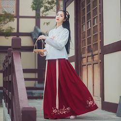 汉尚华莲桃花源传统汉服女装百搭绣花中裙日常下装褶裙长款秋冬