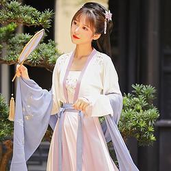 流烟昔泠 花信 原创秋款传统汉服女双面绣花齐腰襦裙对襟