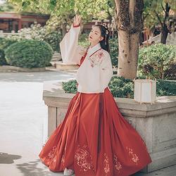 汉尚华莲传统汉服女装芙蓉月刺绣袄裙秋冬装绣花红色马面裙日常款