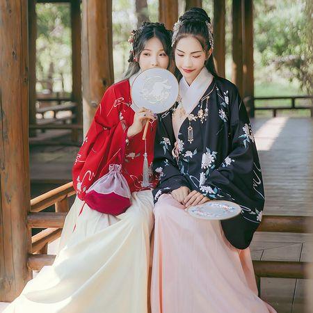 汉尚华莲传统汉服花期印花交领袄裙琵琶袖单层日常春秋双色性价比