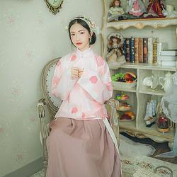 汉尚华莲原创传统汉服女粉葵几何印花立领明制袄裙日常窄袖夏秋装