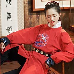 无衣饮羽凌风传统汉服女双面刺绣红黑蓝两穿圆领袍男女日常秋冬装