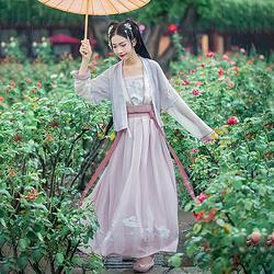 汉尚华莲传统汉服汉服夏装女西湖春绣花雪纺对襟襦裙搭配短袖半臂