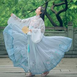 汉尚华莲传统汉服夏装女花郎印花雪纺马面裙搭配齐胸交领上襦日常