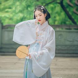 汉尚华莲传统汉服女装重影上袄夏季薄款刺绣明制琵琶袖日常交领衫