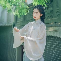汉尚华莲传统汉服夏装女紫竹上衣竹林绣花雪纺明制立领斜襟衫日常