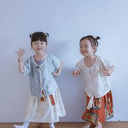 彧卿轻奢原创设计 超萌超可爱儿童套装坦领半臂襦裙 现货