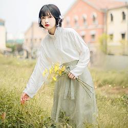 流烟昔泠 浮光 传统原创立领对襟六片半身裙汉元素裙子 女装