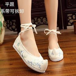 玉兔平跟老北京布鞋女鞋平底千层底布鞋汉服搭配单鞋女绣花鞋弓鞋