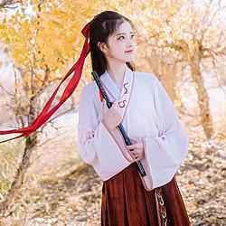 鹿韵记原创改良汉服女火狐印交领上衣搭配日常秋冬新款汉元素